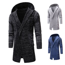 $enCountryForm.capitalKeyWord Canada - New Arrival Mens Slim Fit Hooded knit Sweater Fashion Cardigan Long Trench Men's Outerwear & Coats Jacket Free shipping