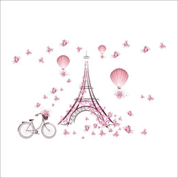 Bedroom Wall Stickers Home Decor UK - Iron Tower Wall Decor Pink Butterfly Wall Sticker for Kids Room Bedroom Home Decor DIY Scenery Poster Mural Wallpaper Wall Decal