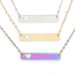 Discount pendant blank heart Fashion Love Heart Bar Necklace for Women Mother Daughter Stainless Steel Blank Bar Pendant Necklace Best Friends Jewelry For Buyer Own DIY