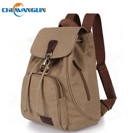 canvas string backpack NZ - Chuwanglin Fashion Canvas Women Backpack Casual Pure Color Woman Travel Bag Vintage Large Capacity Lady's School Bag Laptop Bag Y19051405