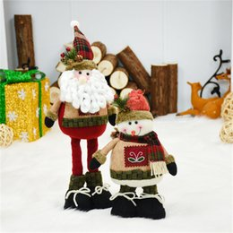 doll supplies NZ - 2pcs lot Santa Claus+Snowman Christmas Dolls Merry Christmas Supplies Extendable Standing Toy Home Office Decoration Accessories T191202