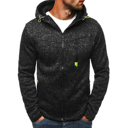 mens black hoodies zip up großhandel-2019 Grau Schwarz T Shirt der Männer Fall Zip Up Hoodie Hoody Jacken Sweatshirt beiläufige Gym mit Kapuze Mäntel Tops Outwear