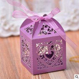 $enCountryForm.capitalKeyWord Australia - Love Heart Laser Cut Hollow Carriage Favors Gifts Candy Boxes With Ribbon Baby Shower Wedding Party Supplies