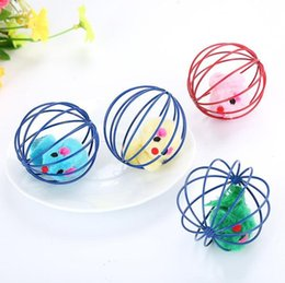 Pack Plays Australia - Adorable Soft Mice Inside Cage Kitty Cat Toy Playing Mouse Ball Cage Toys Color Varies 2 pieces One Pack