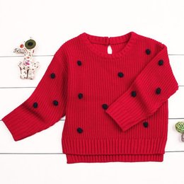 $enCountryForm.capitalKeyWord Australia - Cute Baby Girls Knitted Crochet Sweater Winter Warm Clothes Jumper Toddler Baby Girl Kids Ruffles Long Sleeve Sweaters Tops6M-24M red color