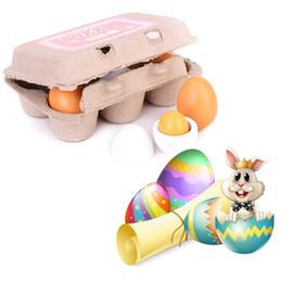 $enCountryForm.capitalKeyWord Australia - Behogar 6pcs Wooden Simulation Eggs Set for Easter Festival Party Decor Children Kids Kitchen Pretend Playset Role Play Toys