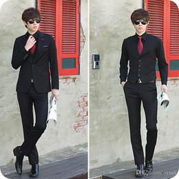 $enCountryForm.capitalKeyWord Australia - Custom Made Black Groom Wedding Tuxedos Latest Coat Pant Designs Burgundy Men Suits Blue Business Man Blazers Wear 3Piece(Jacket+Pants+Vest)