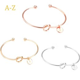 Wholesale 26 Letter Rose Gold Silver Gold Color Knot Heart Bracelets Bangles Girl Fashion Jewelry Zinc Alloy Round Pendant Chain Link Bracelets Gifts