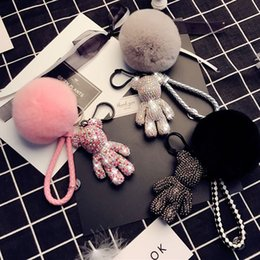 Wholesale Luxury Cute Bling Full CZ Rhinestones Gloomy Bear Keychain Car Key Chain Ring Pendant for Phone Case Bag Charm