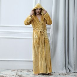 Wholesale mens flannel robe for sale - Group buy Mens Bathrobes Sleepwear Nachthemd Home Service Pyjamas Robes Womens Bathrobe Flannel Winter Robe Male Hooded Thick Pajamas