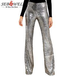c95fc1a38fe775 SEBOWEL Women Sequin Wide Leg Pants Trousers Glitter High Waist Pants Long  Black Silver Sparkle Streetwear Club Wear