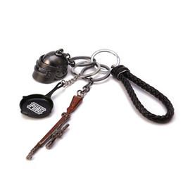Helmet Key Australia - PUBG Keychain 4Pcs Set Key chain Helmet Pan 98K Gun Alloy Keyring Bag Car Key Holder FPS Game Fans Gift llaveros mujer brelok