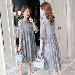 270a010b262 5305  3xl V Neck Pleated Chiffon Maternity Dress 2019 Summer Korean Fashion  Loose Clothes For Pregnant Women Pregnancy Clothing Y190522