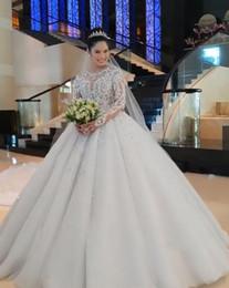 Long Robes Plus Size Australia - Robe de mariée 2019 Appliqued Lace Sequins crystal Wedding Dresses Overskirts Sheer Long Sleeves Bridal Gowns Plus Size Vestidos De Novia
