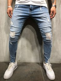 6b170f4f297 Thin Skinny Jeans for Men Long Pencil Pants Ripped Jeans Slim Spring Hole  2018 Men's Fashion Hiphop Trousers Clothes Clothing