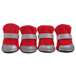 Pet Straps Australia - 10Pair Pets Shoes Boots Dog Water Resistant Shoes Reflective Fastening Straps Pet Shoes Boots 7 Colors 5 Sizes