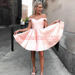 Cheap plus size maternity shorts online shopping - Elegance Off Shoulder Short Homecoming Dresses Satin A Line Juniors Cocktail Prom Dress Cheap Party Club Wear Knee Length Cheap A Line