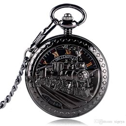 Pocket Clock Skeleton Canada - Skeleton Running Locomotive Mechanical Pocket Watch Black Roman Numbers Dial Clock Classic Antique Passenger Trains Necklace Chain