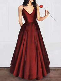 purple stock special occasion dresses UK - 2019 In Stock Prom Dresses with Pockets Spaghetti V Neck Evening Party Gowns Zipper Back Maid of Honor Dress