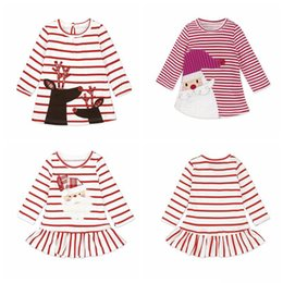 cute baby clothes wholesale UK - Newborn Baby Girl Dress Autumn Long Sleeve Striped Dress Party deer Santa Claus Kids Clothes For Christmas Toddler Infant Clothes