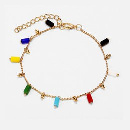 Glasses beads online shopping - 2019 Woman s accesories ankle bracelet Creative retro minimalist iridescent glass beads anklet leg anklets for women