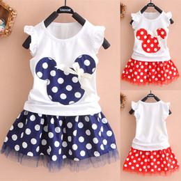 Cartoon Tutus Australia - kids clothes 2 colors Girl cartoon sleeveless T-shirt + Polka Dot Tutu skirts 2pcs set children clothing JY287