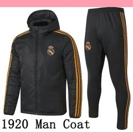 Wholesale xxl outerwear for sale – winter 19 Real Madrid Cotton coat Down Jacket mens sweater hoodie tracksuits soccer outerwear clothes Hazard football winter coat