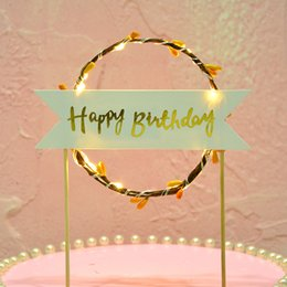 Discount girl baby shower cakes cupcakes - LED Flower Cupcake Toppers Baby Shower Girl For Happy Birthday Cake Topper Party Decoration Suppliers Cake Decorating To
