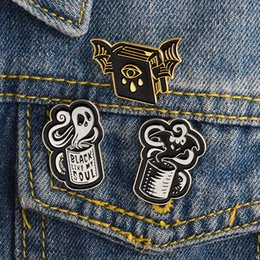 Discount enamel pin badges Miss Zoe Creativity Magical Book Coffee Wings Ghost Devil Enamel Pin Badge Denim Jacket Jewelry Gifts Brooches for Women