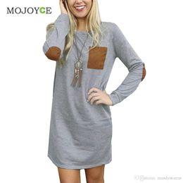 Elbow Patched Australia - Wholesale-New Fashion Women Elbow Patch Shift Color Block Top T-Shirt Gray Long Tee T shirt Women Crop Top Blusa Tops Camisas Femininas