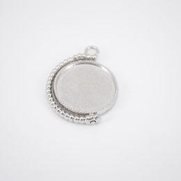 Pendant Base Diy Australia - shukaki 10pcs double side rotating cabochon base fit 20mm dia blank pendant bezel tray diy cameo settings for jewelry making