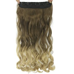 $enCountryForm.capitalKeyWord UK - Women Hair High Tempreture Synthetic Ombre Hair Piece 5 Clip In Hair Extensions 60cm Long Wavy Brown To Blonde