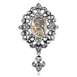 $enCountryForm.capitalKeyWord UK - Women Brooches Abalone Mother-of Pearl Shell Sliver Gold Alloy Beauty Girl Head Rainstone Crystal Pins Brooch Dress Tie Suit Boutonniere
