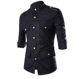 red wine shirts NZ - 2016 New Men's Epaulet Long-Sleeve Cargo Dress Shirts Military Uniform Shirt Mens Cotton Slim Black Blue Wine Red Camisas homme