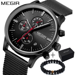 mens mesh band watches Australia - Megir Luxury Brand simple Fashion sport CHRONOGRAPH male watch dress quartz watch men steel mesh band wristwatch mens clock SH190929
