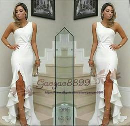 $enCountryForm.capitalKeyWord NZ - White chiffon fashion Arabic Dubai one shoulder side split Prom Party Dresses Sweetheart Backless Ruched Cheap Occasion Dress Evening Wear