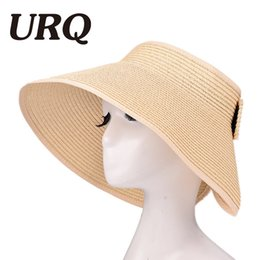 $enCountryForm.capitalKeyWord Australia - Sun Visor Beach Hats Women Visors Foldable Wide Brim Female Summer Sun Hat Women's Hats Summer Wide-brimmed Straw Hat ZZ4067