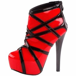 $enCountryForm.capitalKeyWord Australia - Cheap Shoes Lf80858 Show Story Punk Red Black Strappy Platform Stiletto Ankle Bootie Boots