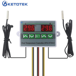 thermostat controller Canada - AC 110V-220V Digital Dual Thermostat Regulator Relay Temperature Controller Temp. Switch for Incubator with Dual Sensor