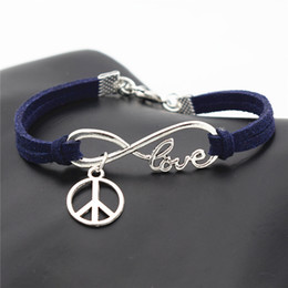 Love Peace Charms Australia - Silver Alloy Infinity Love Round Peace Symbols Charm Bracelets & Bangles Personalized Fashion Dark Navy Leather Rope Women Men Jewelry Gifts