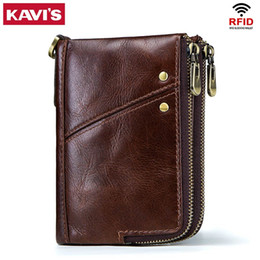 Leather waLet man online shopping - KAVIS Rfid Genuine Crazy Horse Leather Wallet Men Small Walet Portomonee Male Cuzdan Short Coin Purse PORTFOLIO Card Holder