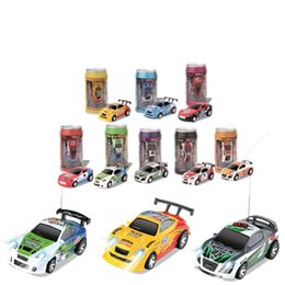 remote control micro racing car UK - 8 Colours Mini 27 40MHZ Coke Can Remote Radio Control Micro Racing RC Car Racing Car 4 Frequencies Toy For Kids Gifts RC Models