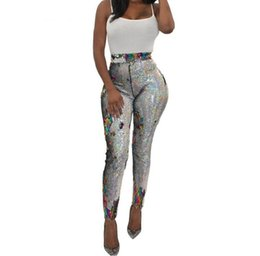 4e99873d01bea1 Sparkly Colorful Sequins Sexy Skinny Legging For Women High Waist Night Club  Party Trouser Streetwear Female Shining Long Pant