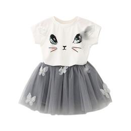 $enCountryForm.capitalKeyWord Australia - Summer Baby Girls Clothing Sets Fashion Cartoon Cute Kitten Printed T-Shirts+Net Veil Butterfly Beaded Fluffy Yarn Skirt Suit