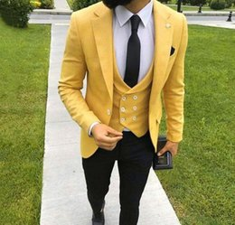 White suits for men costume online shopping - 2019 Custom Made Yellow Men Suits for Wedding Notched Lapel Slim Fit Groom Tuxedo Groomsmen Suit Bridegroom Blazer Costume Homme Tux