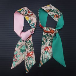 bird scarfs UK - Bohemia scarf celebrity style flower bird jungle alphabet silk scarf female tied bag handle ribbon headband scarves wholesale