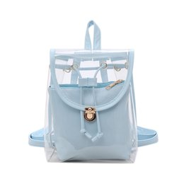 China Women Transparent PVC Backpacks Korean Girl's Beach Bag Female Jelly Backpack schoolbag ladies Clear Personalized shoulder Bags GGA1789 cheap korean lady bags wholesale suppliers