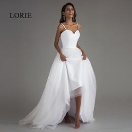 $enCountryForm.capitalKeyWord NZ - Lorie Spaghetti Strap Beach Wedding Dresses 2019 Vestido Noiva Praia White Tulle With Sashes Boho Bridal Gown A-line Bride Dress Y19072901
