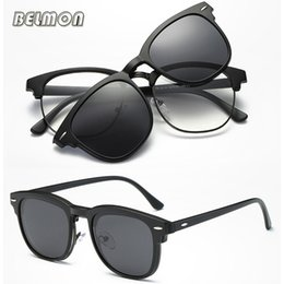 Magnetic clips sunglasses online shopping - Fashion Spectacle Frame Men Women With Polarized Clip On Sunglasses Magnetic Glasses Clear Lens Male Myopia Optical RS490