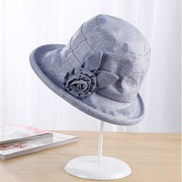 78e742d4 2019 curled flower cotton linen hat female summer UV protection foldable big  hat wild fisherman hat